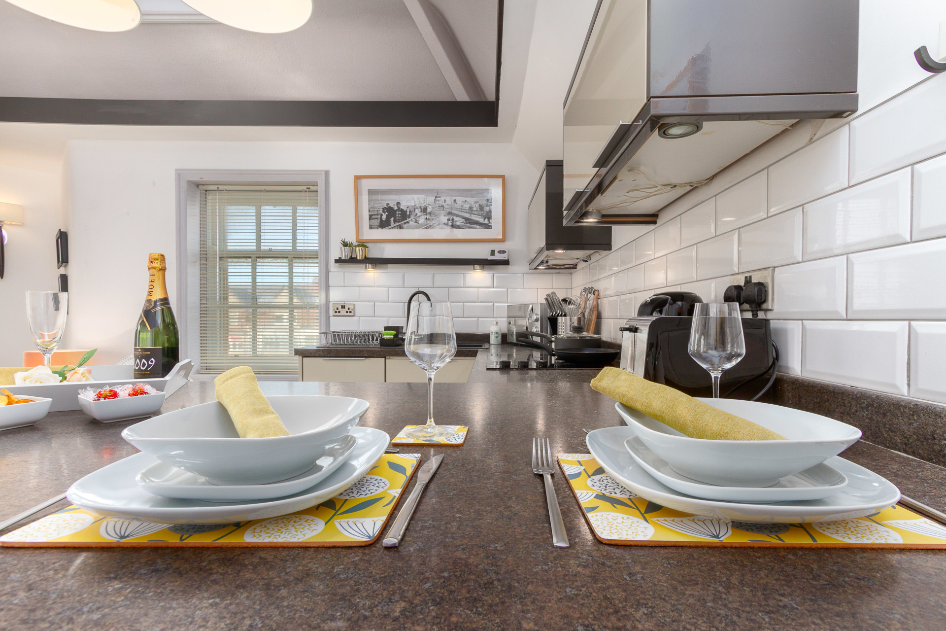 Breakfast bar with seating for two
